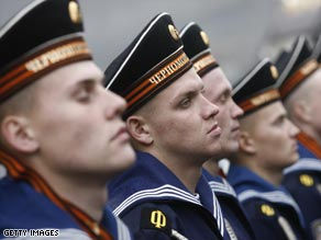 Russian navy soldiers stand guard during a military ceremony.