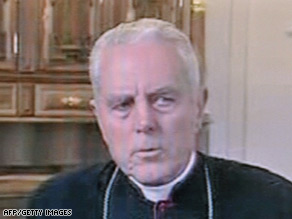 Bishop Richard Williamson, shown in the recent Swedish TV interview, has been removed from his seminary post in Argentina.
