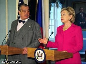 U.S. Secretary of State Hillary Clinton and Czech Foreign Minister Karel Schwarzenberg held talks Tuesday.