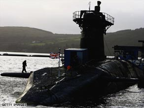 The British Royal Navy submarine HMS Vanguard.