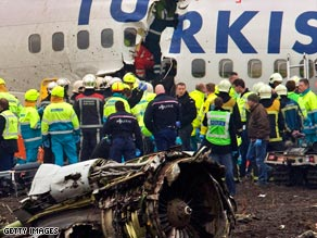 Images from the scene of the Turkish Airlines crash show the plane broken into three pieces.