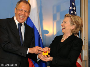 "Russian Foreign Minister Sergey Lavrov and Secretary of State Hillary Clinton laugh about their ""reset' button."