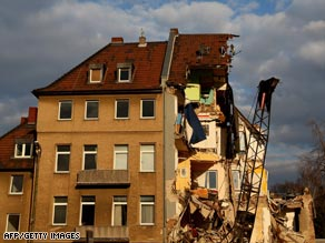The remains of Cologne's archive building following the collapse on Tuesday afternoon.