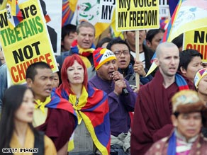 Protesters have gathered in London to mark the 50th anniversary of the Tibet uprising.