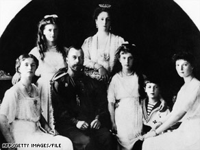 Czar Nicholas II, from left, daughters Olga, Maria, wife Alexandra, kids Anastasia, Alexei and Tatiana in 1917.