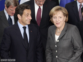 Nicolas Sarkozy with Germany's Angela Merkel at a meeting of the German-French council of ministers
