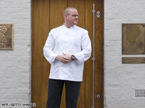 Heston Blumenthal outside the entrance to his Fat Duck restaurant in Berkshire, England.
