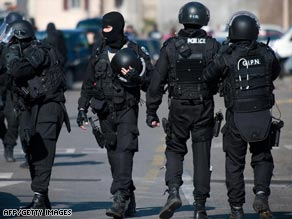 French police at the Lyon nursery school Friday.