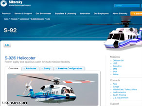 """Sikorsky's Web site says the S-92 """"is the most advanced aircraft""""  in its civil product line."""