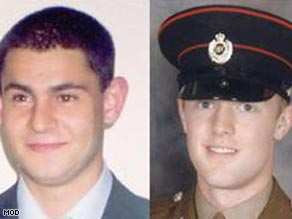 Soldiers Cengiz Azimkar, left, and Mark Quinsey were killed March 7 at a base in Massereene.