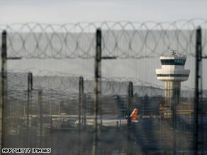 The control tower at Gatwick Airport, the scene Sunday of a security scare involving an Emirates airliner.