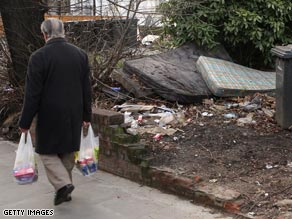 Discarded mattresses  pile up alongside trash in London in January of this year.