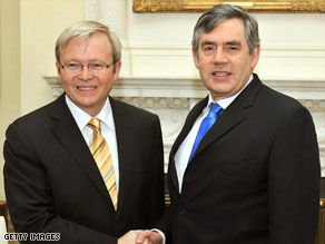 Gordon Brown, right, met Australian Prime Minister Kevin Rudd on Monday.