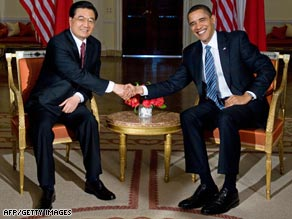 U.S. President Barack Obama meets with Chinese President Hu Jintao in London on April 1.