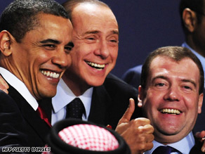Pres. Barack Obama, Italian Prime Minister Silvio Berlusconi and Russian President Dmitry Medvedev share a laugh during the G20 summit in London.