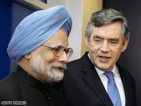 Indian PM Manmohan Singh is greeted by British counterpart Gordon Brown at the G-20 summit.