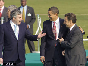 British Prime Minister Gordon Brown, President Obama, French President Nicolas Sarkozy Saturday in France.