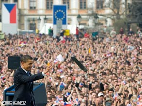 President Barack Obama faces a large crowd Sunday near the Prague Castle in the Czech Republic.