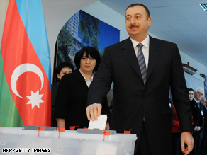 "Reporters Without Borders accuses President Ilham Aliev of ruling Azerbaijan ""with an iron hand."""