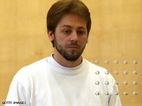 Fritz Gelowicz appears in court on April 22 in Dusseldorf, northern Germany.