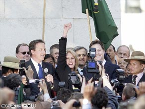 Actress and Gurkha rights campaigner Joanna Lumley celebrates the vote with Gurkhas and politicians.