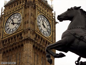 The clock is located at the end of the Palace of Westminster.
