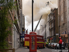 Streets in London were cordoned off while firefighters tackled the blaze.
