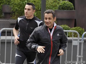 French President Nicolas Sarkozy is often seen jogging with bodyguards.