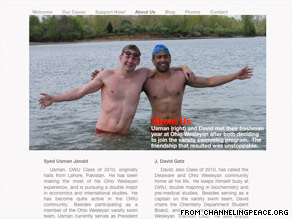 College teammates David Gatz (left) and Usman Javaid want to swim the English Channel for charity.