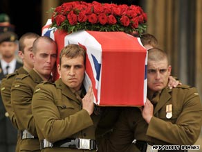 Soldiers from Germany, France and Belgium attend Harry Patch's funeral.