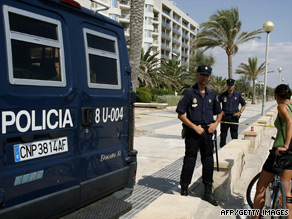 Police cordon off the route leading to the location of the latest blasts in Palma de Mallorca.