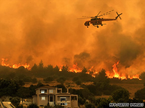 Greek firefighters continue to battle widespread blazes