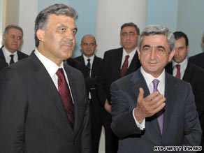 Turkish President Abdullah Gul, left, meets Armenian counterpart Serzh Sarkisian in Yerevan in September 2008.