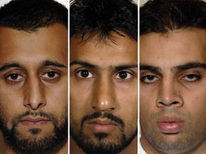 Left to right:Tanwir Hussain, Abdullah Ahmed Ali and Assad Sarwar were found guilty of the bomb plot.