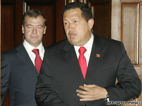 Venezuelan President Hugo Chavez, right, meets his Russian counterpart, Dmitry Medvedev, on Thursday.
