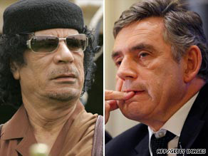 British Prime Minister Gordon Brown is said to have spoken to Libyan leader Colonel Gadhafi about the Fletcher case in July.