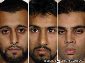 Left to right:Tanvir Hussain, Abdulla Ahmed Ali and Assad Sarwar were found guilty of the bomb plot.