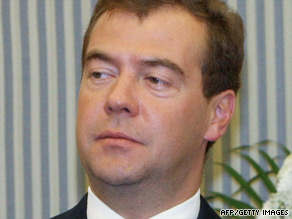 Russian President Dmitry Medvedev says United States is blocking Russian accession to the WTO.