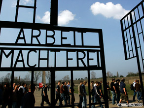 Visitors mark 60th anniversary of liberation Sachsenhausen concentration camp in 2005.