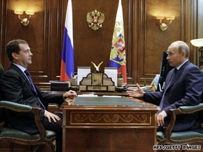 Russian President Dmitry Medvedev, left, and Prime Minister Vladimir Putin chat in Gorki earlier this month.
