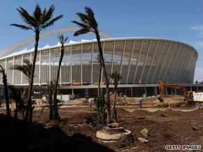 Moses Mabhida Stadium under construction in Durban, South Africa; one of 10 stadiums that will host World Cup.
