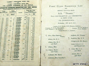 A list of first class passengers for the R.M.S. Titanic is one of the artifacts that remains after the sinking.