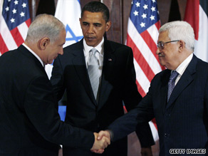 Obama with Israeli PM Benjamin Netanyahu, left, and Palestinian President Mahmoud Abbas two months ago.