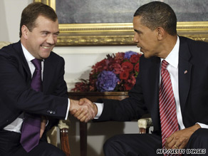 """President Obama praised Dmitry Medvedev for the """"excellent working relationship"""" the two have developed."""
