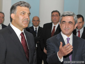Armenian President Serzh Sarkasian (right) pictured with Turkish counterpart Abdullah Gul during Gul's visit to Yerevan in 2008.