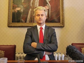 Dutch lawmaker Geert Wilders at the Houses of Parliament, London, on October 16 after being allowed entry to the UK.