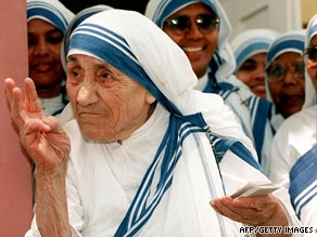 Mother Teresa, pictured in 1997, lived and worked in Kolkata from 1931 until her death.