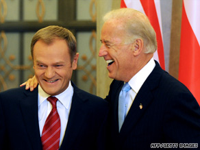 Polish Prime Minister Donald Tusk, left, meets with Vice President Joe Biden on Wednesday in Warsaw.