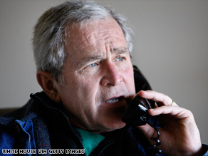 "President Bush, pictured in December, says Hamas ""has no intention of serving the Palestinian people."""