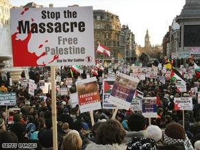 Police estimate 5,000 protesters converged on London's Trafalgar Square.
